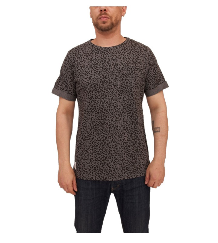Native Youth Leopard Print T Shirt Charcoal