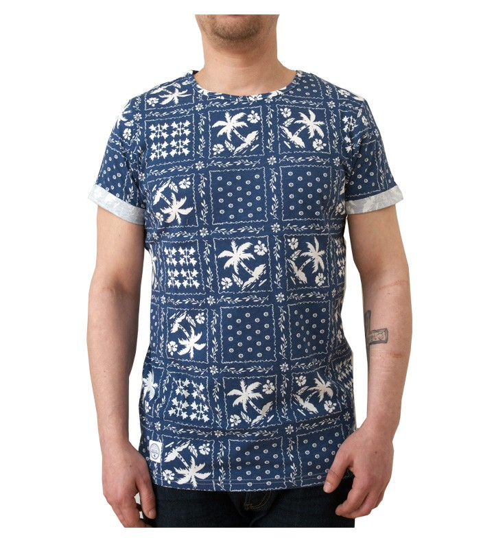 Native Youth Palm Bandana Crew Blue/White T-Shirt