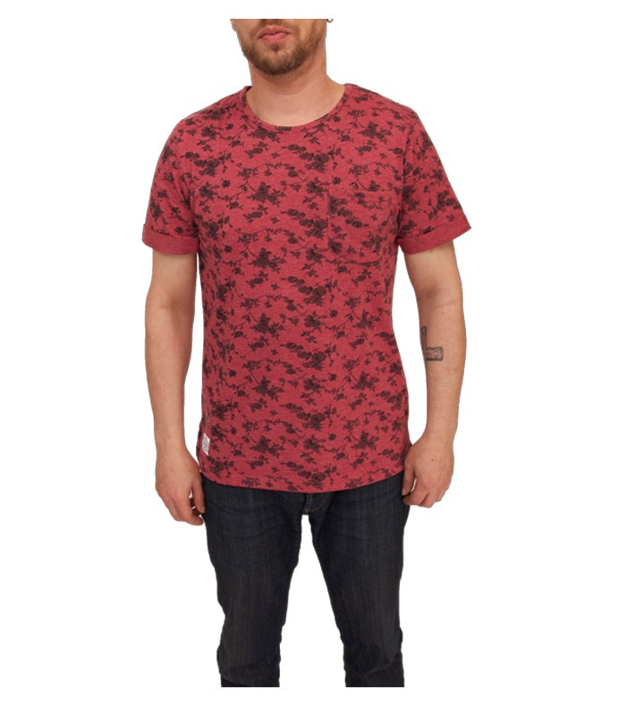 Native youth Floral Print T Shirt Burgundy