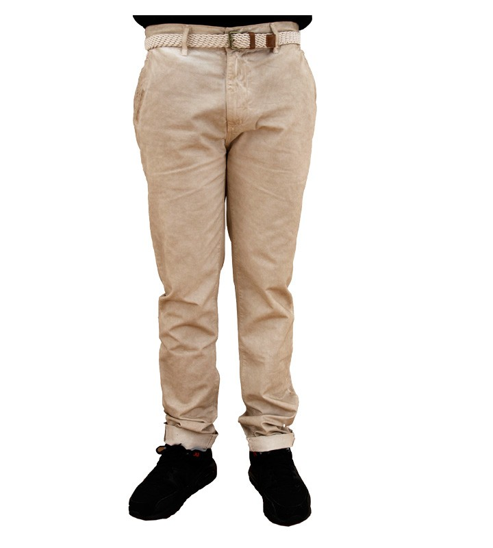 Two Angle Ceylann Mens Beige Chinos