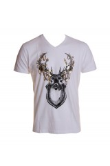 Kid Dangerous Deer Bling Mens White T-Shirt
