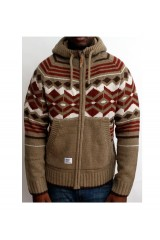 Addict Native Fennel Green Knitted Mens Cardigan