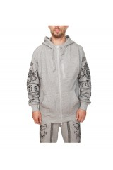 Crooks & Castle Black Order Knit Zip Hoodie Speckle Grey
