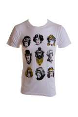Kid Dangerous Monkee Heads Mens White/Black Gold T-Shirt
