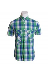Addict Green Blue White Check Shirt