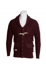 Marshall Artist Burgundy Mens Zip Cardigan
