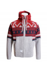 Addict Mountain Red and Navy Zip Knit Mens Cardigan