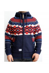 Addict Native Navy Blue Knitted Mens Cardigan