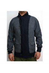 Dr Denim Franz Mens Navy/Grey Cardigan